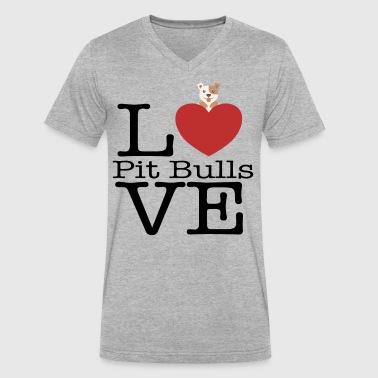 Love Cute Pit Bulls - Men's V-Neck T-Shirt by Canvas