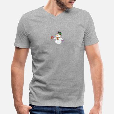 Hold Out Smiling Snowman Holding Out Christmas funny tshirt - Men's V-Neck T-Shirt by Canvas