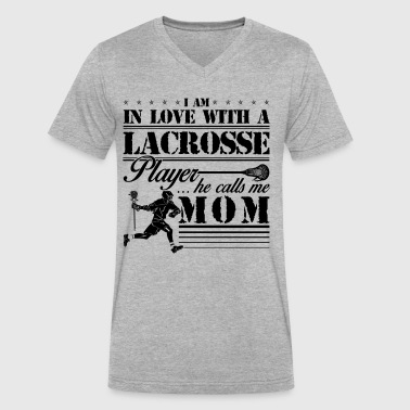 I Love Lacrosse I Am In Love With A Lacrosse Player Mom Shirt - Men's V-Neck T-Shirt by Canvas