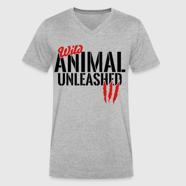 wild animal unleashed - Men's V-Neck T-Shirt by Canvas