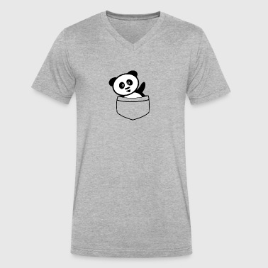 Pocket panda - Men's V-Neck T-Shirt by Canvas