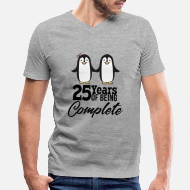 Silver Wedding Anniversary 25 years of being one! Silver wedding - Men's V-Neck T-Shirt