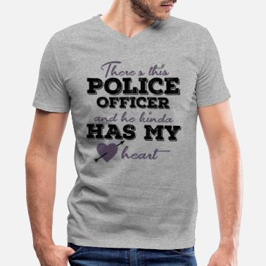 Policeman Policeman with police dog and blue light - Men's V-Neck T-Shirt