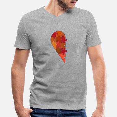 Half Heart Man Male half heart - Men's V-Neck T-Shirt by Canvas