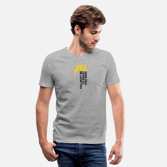 Sexuality T-Shirts - This Ride Is Only For Men Over 21 - Men's V-Neck T-Shirt heather gray