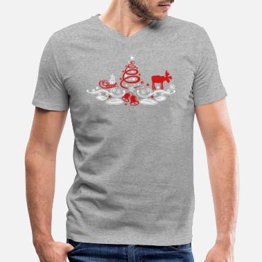 Decoration Christmas tree decoration with moose - Men's V-Neck T-Shirt by Canvas