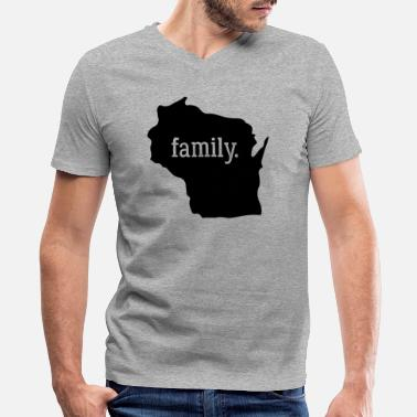 Wisconsin Cool Wisconsin Cool Gift Family State Shirt Dark - Men's V-Neck T-Shirt by Canvas