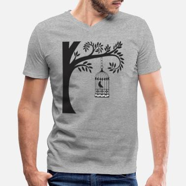 Cage Bird In Cage - Men's V-Neck T-Shirt