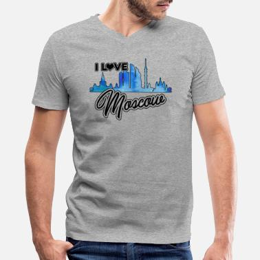 I Love Moscow I Love Moscow Shirt - Men's V-Neck T-Shirt by Canvas