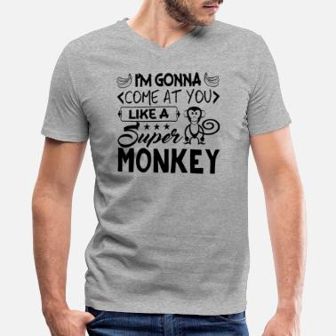 Super Monkey Monkey Shirt - Super Monkey T Shirt - Men's V-Neck T-Shirt by Canvas