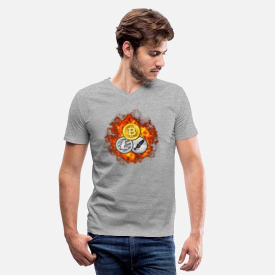 Save T-Shirts - Bitcoin, Litecoin and feathercoin in explosion. - Men's V-Neck T-Shirt heather gray