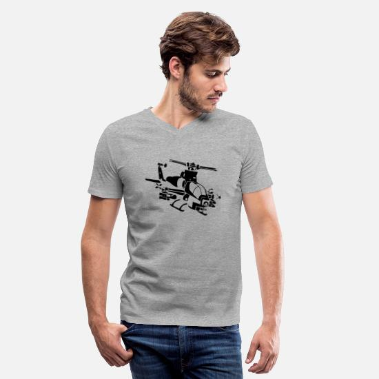 Death T-Shirts - Attack Helicopter - Men's V-Neck T-Shirt heather gray