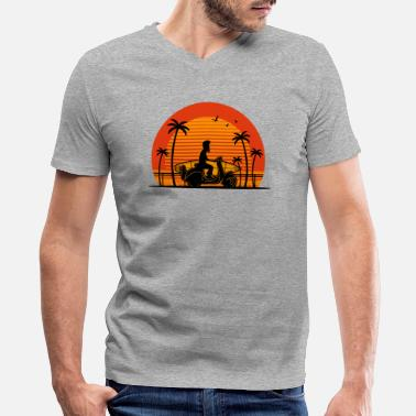 Sunset Driver Surfer on Scooter with Surfboard - Men's V-Neck T-Shirt