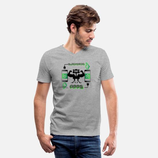 Android T-Shirts - blackdroid apps - Men's V-Neck T-Shirt heather gray