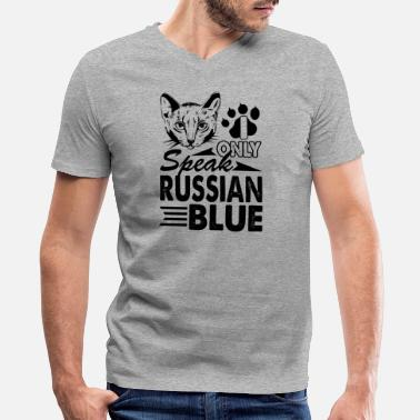 I Speak Russian I Only Speak Russian Blue Shirt - Men's V-Neck T-Shirt by Canvas