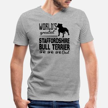 Staffordshire Bull Terrier Dad Shirt - Men's V-Neck T-Shirt by Canvas