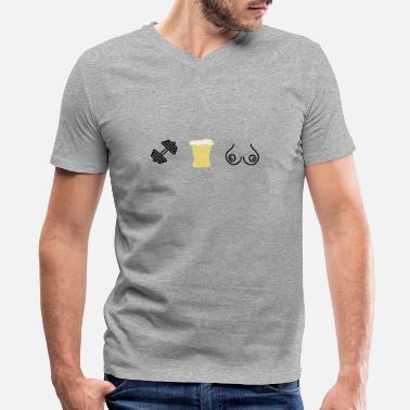 4f49d30f Gym Beer Gym beer boobs - Men's V-Neck T-
