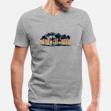 Palm Tree Sunset Sunset with palm trees - Men's V-Neck T-Shirt by Canvas