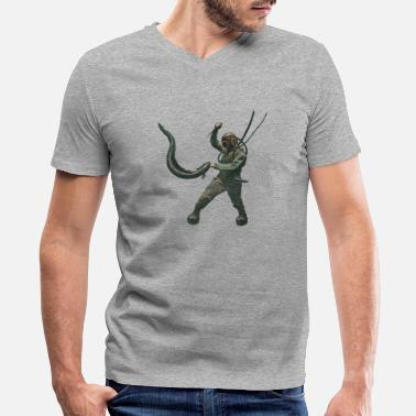 Eel Vintage Diver with Diving Helmet Fighting an Eel - Men's V-Neck T-Shirt