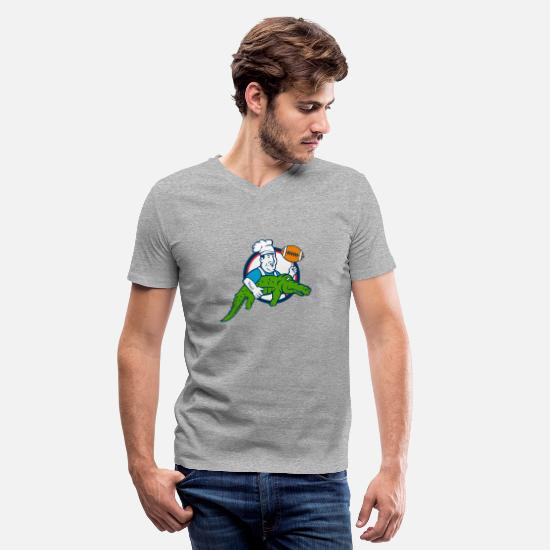 Alligator T-Shirts - Chef twirling football - Men's V-Neck T-Shirt heather gray