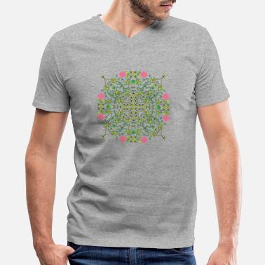 Tongue Funny green frogs hunting flies mandala design - Men's V-Neck T-Shirt
