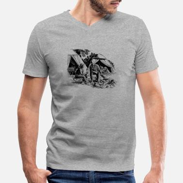Scene Retro Camping Scene - Men's V-Neck T-Shirt