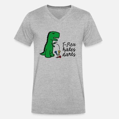 33d42a25b2 T-Rex hates darts dartboard darts player dinosaur Men's V-Neck T ...