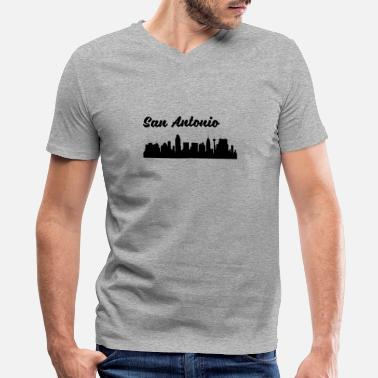 San Antonio Tx San Antonio TX Skyline - Men's V-Neck T-Shirt by Canvas