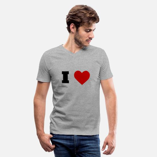 Love T-Shirts - I Love - Men's V-Neck T-Shirt heather gray