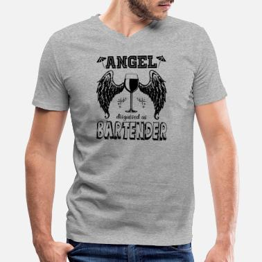 Angel In Disguise Angel Disguised As Bartender Shirt - Men's V-Neck T-Shirt by Canvas