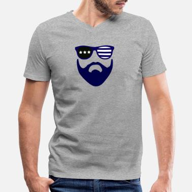 Beard Gang Blue beard-beard gang - Men's V-Neck T-Shirt by Canvas