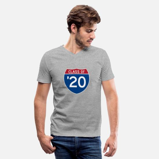 College T-Shirts - Stylized Interstate sign | Class of 2020 - Men's V-Neck T-Shirt heather gray