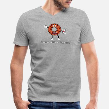 Simpsons Donut with a Purpose White Ink - Men's V-Neck T-Shirt