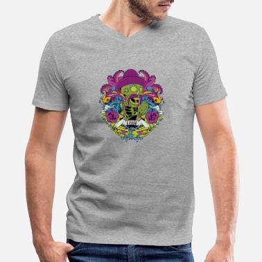 Mexican Green mexican green skull day of the dead faith - Men's V-Neck T-Shirt by Canvas