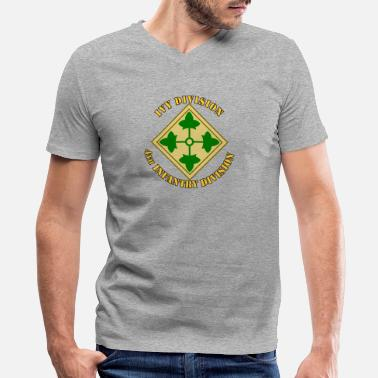 Infantry Insignia 4th Infantry Division - Men's V-Neck T-Shirt by Canvas