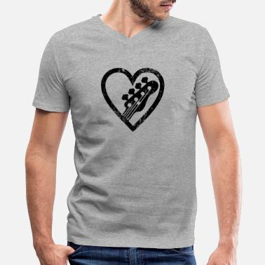 Bass Big heart with and for bass guitar lovers - Men's V-Neck T-Shirt