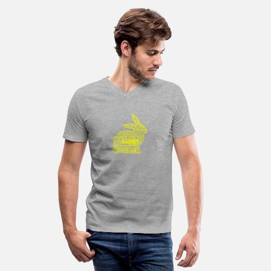 Easter T-Shirts - GIFT - RABBIT YELLOW - Men's V-Neck T-Shirt heather gray