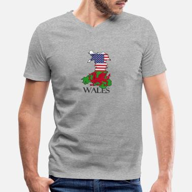 Welsh Roots Welsh heritage Flags of Wales & USA - Men's V-Neck T-Shirt by Canvas