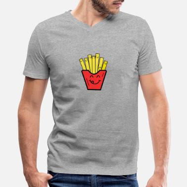 French Kids funny french fries kids children baby present - Men's V-Neck T-Shirt by Canvas