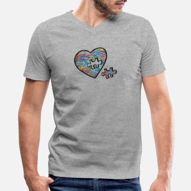 Puzzle Cute Autism Heart Autism Awareness - Men's V-Neck T-Shirt