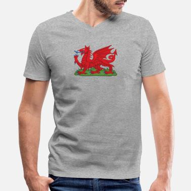 3xl Sports Wales Red Dragon National Flag Symbol - Men's V-Neck T-Shirt by Canvas