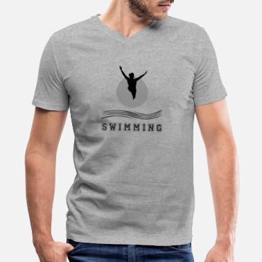 Adult-swim Swimming - Men's V-Neck T-Shirt by Canvas