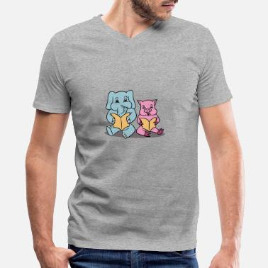 Elephant And Piggie Elephant And Piggie Read - Men's V-Neck T-Shirt