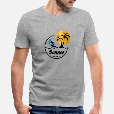 Palm Trees Grab Surfing T-Shirt Summer Sunny Palm Trees Sunset Tee - Men's V-Neck T-Shirt