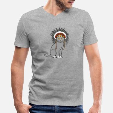 American Indian American Indian cat - Men's V-Neck T-Shirt
