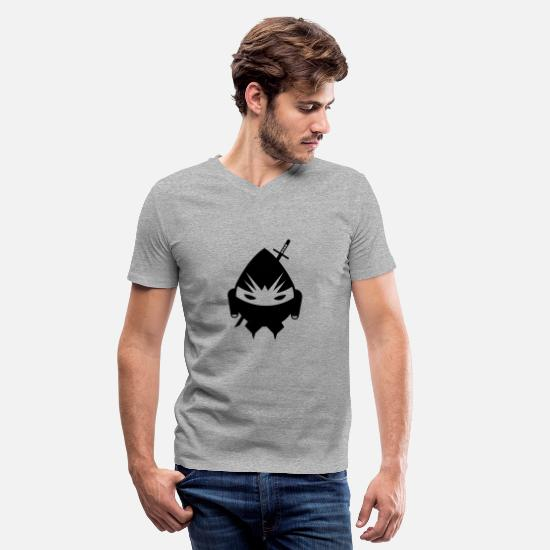 Ninja T-Shirts - Ninja - Men's V-Neck T-Shirt heather gray