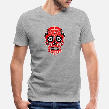 Red White And Blue Skulls Decorative skull, white, red - Men's V-Neck T-Shirt by Canvas