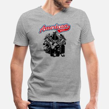 Motor V8 AMERICAN WAY V8 motor engine dark design - Men's V-Neck T-Shirt