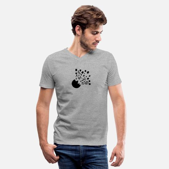New T-Shirts - Risk of Explosion funny tshirt - Men's V-Neck T-Shirt heather gray