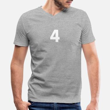 Number 4 Four 4, Four, Number Four, Number 4 - Men's V-Neck T-Shirt by Canvas